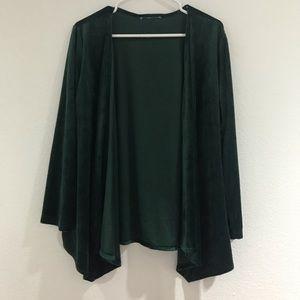 Dark green velvet cardigan